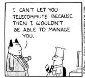 Dilbert cartoon on telecommuting (United Feature Syndicate Inc. 1997)