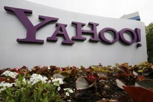 Yahoo logo outside Santa Clara, CA office (File Photo/AP/May 24, 2011)