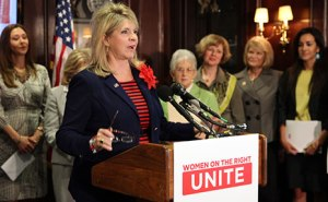 Republican National Committee Co-Chair Sharon Day speaks at press conference to launch 'Women on the Right Unite' - an RNC project to promote the recruitment of and support for Republican women and women candidates. (Photo/RNC, June 26, 2013)